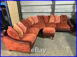 Large Tetrad Hayden Strauss leather scatter back corner sofa suite & footstool