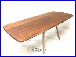 Large Vintage Mid Century ERCOL Plank Top Light Beech/Elm Windsor Dining Table