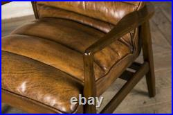 Leather Sofa And Armchair Retro Style Vintage Style Seating Tan Leather