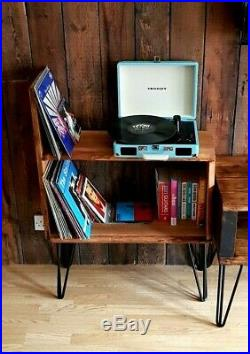Live edge oak vinyl record player turntable stand with steel hairpin legs