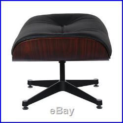 Lounge Chair and Footstool Genuine Italian Leather Black Rosewood
