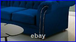 Luxurious Chesterfield Navy Blue Corner Sofa & 3/2 seater Free Delivery 002