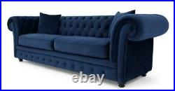MADE. Com Branagh Electric Blue Velvet Chesterfield Three Seater Sofa RRP £1099