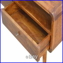 MCM Open Slot Curved Media Unit with Scandinavian Style Legs and Chestnut finish