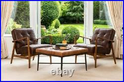 MID Century Style Leather Lounge Furniture Retro Style Leather Seating