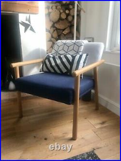 Made armchair, mid century style, barely used, navy & grey