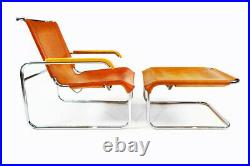 Marcel Breuer vintage tan leather and chrome cantilever armchair and footstool