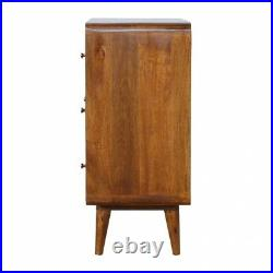 Mid Century Curved Dark Mango Wood Chest Of 3 Drawers Rounded Edges Handmade