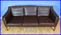 Mid Century Danish Skippers Mobler Brown Leather Mogensen Style 3 Seat Sofa