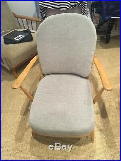 Mid Century Ercol Windsor Armchair blond with Cushions