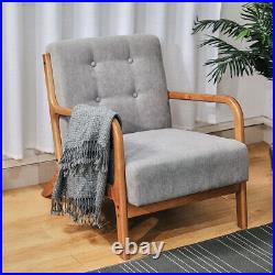 Mid Century Line Fabric Accent Armchair Sofa Wooden Leisure Balcony Lounge Chair