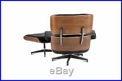 Mid Century Lounge Chair and Ottoman Rosewood WALNUT 100% REAL Italian Leather