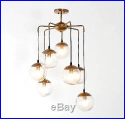 Mid Century Modern Handcrafted Brass Bubbles Chandelier Ceiling Light Lamp'70s