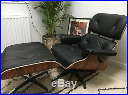 Mid Century Modern Lounge Chair and Ottoman. Black Italian Leather and Rosewood