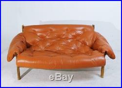 Mid-Century Modern Percival Lafer Style Tufted Leather Sofa, 1970s