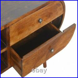 Mid Century Modern Rounded Dark Wood TV Cabinet Media Unit Free Delivery