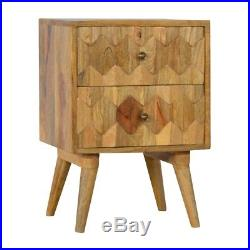 Mid Century Modern Scandinavian Style Solid Wood Carved 2 Drawer Bedside Table