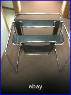 Mid-Century Modern Wassily style Black Leather Chrome Chair professional sleek