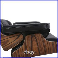 Mid Century Plywood Lounge Chair Ottoman Genuine Aniline Leather Rose Palisander