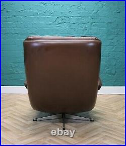 Mid Century Retro Danish Brown Buttoned Leather Swivel Lounge Armchair 1970s