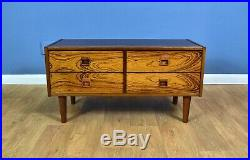 Mid Century Retro Danish Rosewood Low Sideboard TV Cabinet with 4 Drawers 1970s