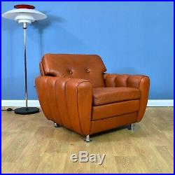 Mid Century Retro Danish Skippers Møbler Tan Brown Leather Lounge Arm Chair 70s