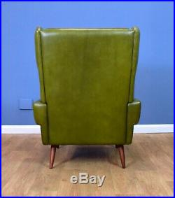 Mid Century Retro Danish Skippers Mobler Green Leather Lounge Arm Chair 1960s