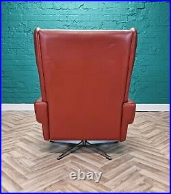 Mid Century Retro Danish Skippers Mobler Red Leather Swivel Lounge Arm Chair 60s