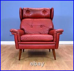 Mid Century Retro Danish Skippers Mobler Red Leather Wingback Lounge Arm Chair