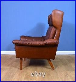 Mid Century Retro Danish Skippers Mobler Tan Brown Leather Lounge Arm Chair 70s