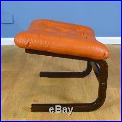 Mid Century Retro Danish Tan Leather Bentwood Lounge Armchair and Footstool 70s