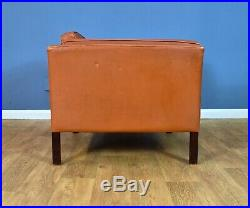 Mid Century Retro Danish Tan Leather Overzised Lounge Arm Chair by Stouby 1970s