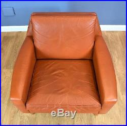 Mid Century Retro Vintage Danish Tan Leather Lounge Arm Chair 1960s 70s