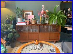 Mid Century Sideboard With Glass And Closed Cupboards