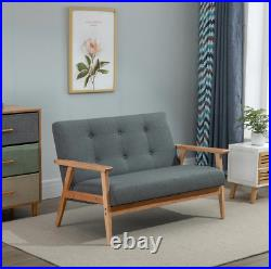 Mid Century Sofa Vintage Style 2 Seater Danish Seat Modern Fabric Small Couch