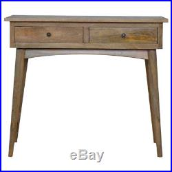 Mid Century Style Console Table / Desk With Two Drawers Hand Crafted Solid Wood