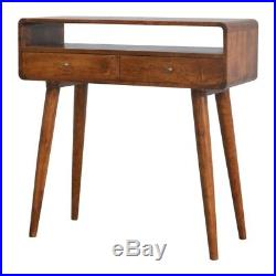 Mid Century Style Wooden Console Table With Scandinavian Design Legs