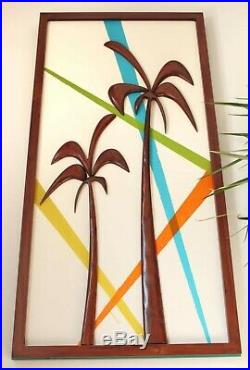Mid-century modern wall sculpture Palm trees Retro color wood wall art