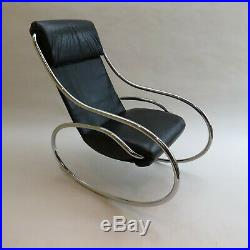 Midcentury Modern leather and chrome rocking armchair Heals Retro 1970s MCM