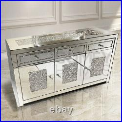 Mirrored Crushed Crystal 3 Door 3 Drawer Sideboard- FREE DELIVERY AVAILABLE