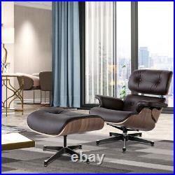 Modern Eams Lounge Chair & Footstool Real Leather Walnut Armchair Living room