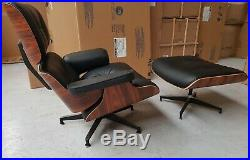 New and Boxed Full Leather Lounge Chair And Ottoman Mid Century Style