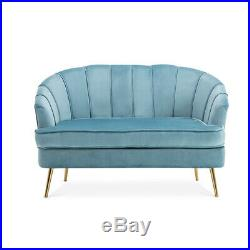 Nordic Scalloped Oyster Lounge Sofa Armrest Wing Chair Sofas Velvet TWO Seater