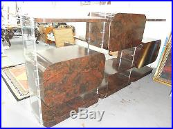 OUTRAGEOUSLY CHIC 70s LUCITE & BURL LAMINATE WOOD WALL DISPLAY UNIT with LIGHT