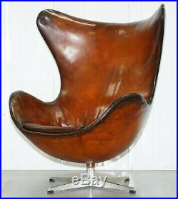 Original 1963 Fritz Hansen Egg Chair Model Number 3316 Hand Dyed Brown Leather
