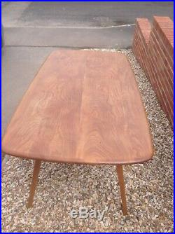 Original Ercol Plank Dining Table 263 In Blonde Elm Beech Finish blue label