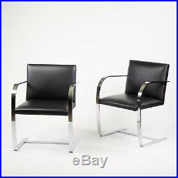 Original Knoll Mies Van Der Rohe Brno Chairs Black Leather Sets Avail 2000s MINT