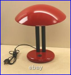 Original Mid Century Modernist UFO Mushroom Red Accent Table Lamp Made In Italy