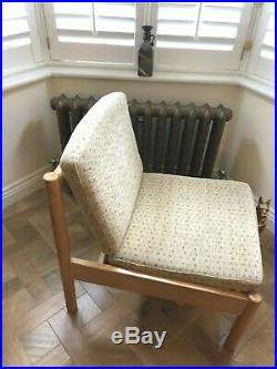 Pair Of Blond Ercol Easy Lounge Chairs/Cushions Gold Ercol Labels All Original