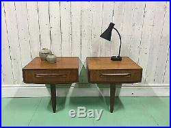 Pair Of Gplan Bedside Cabinets Floating Retro Mid Century Danish Table Vtg Lamp